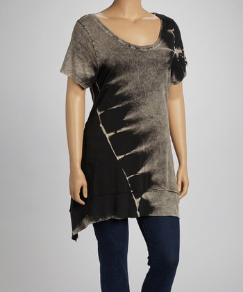 Black & Gray Mineral Tie-Dye Scoop Neck Sidetail Top - Plus
