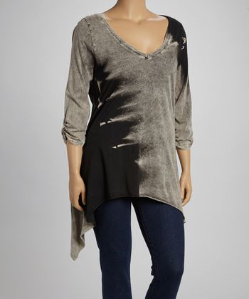 Black & Gray Mineral Tie-Dye V-Neck Sidetail Top - Plus