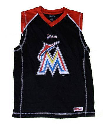 Black & Orange Miami Marlins Tank - Boys