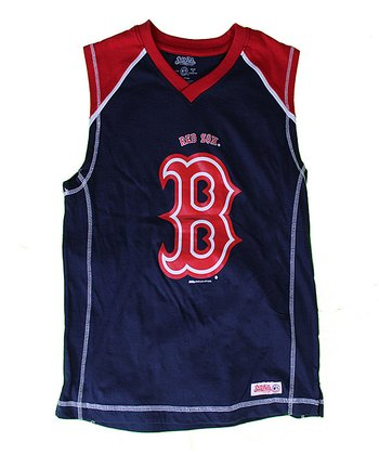 Navy & Red Boston Red Sox Tank - Boys