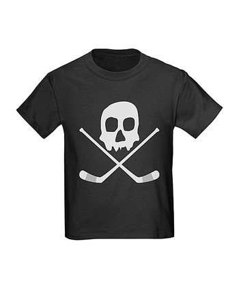 Black Hockey Skull Tee - Kids