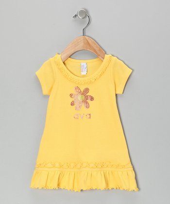 Yellow Flower Personalized Ruffle Dress - Infant, Toddler & Girls