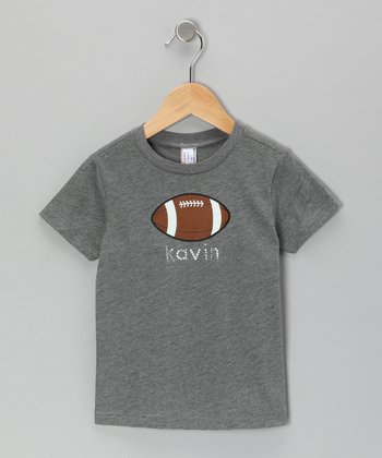 Heather Gray Football Personalized Tee - Infant, Toddler & Boys