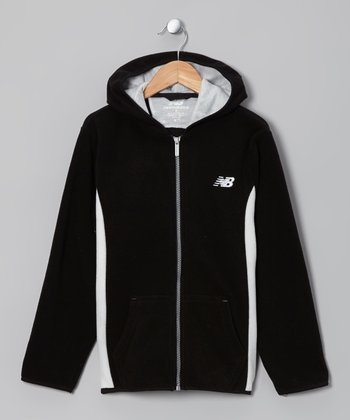 Black & White Zip-Up Hoodie - Boys