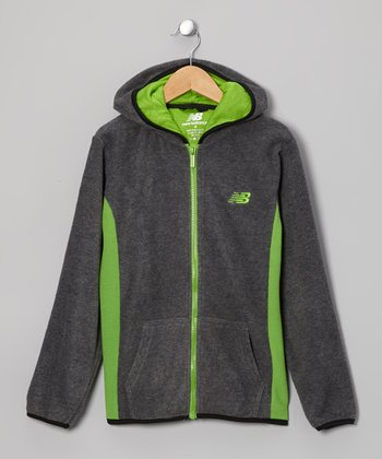 Charcoal & Lime Zip-Up Hoodie - Boys