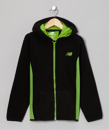 Black & Lime Zip-Up Hoodie - Boys