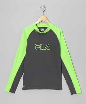Charcoal & Neon Green Mock Neck Top - Boys