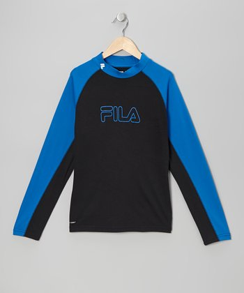 Black & Blue Mock Neck Top - Boys