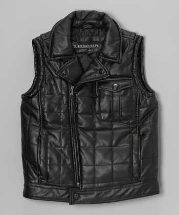 Black Faux Leather Quilted Motorcycle Vest - Boys
