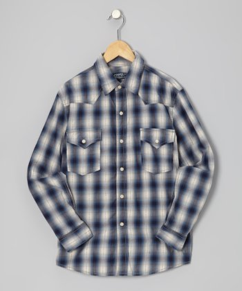 Navy Plaid Western Button-Up - Boys