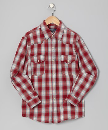 Red Plaid Western Button-Up - Boys