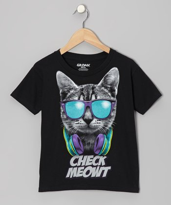 Black Cat 'Check Meowt' Tee