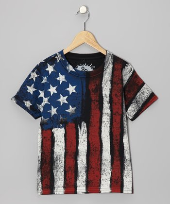 Red & Blue Vintage Flag Tee