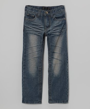 Medium-Wash Distressed Jeans