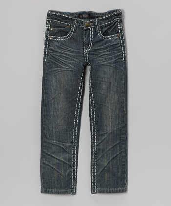 Medium-Wash Stitch Hem Jeans