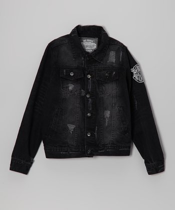 Black Vintage Denim Jacket - Boys
