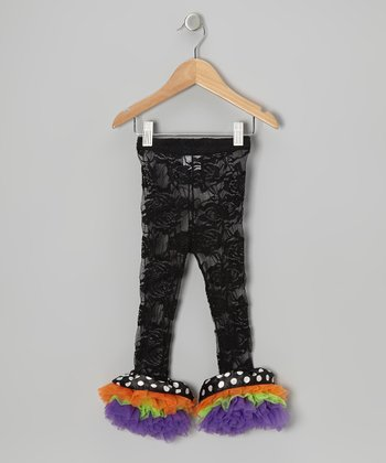 Black & Purple Lace Ruffle Leggings - Toddler & Girls