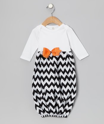 White & Black Zigzag Gown - Infant