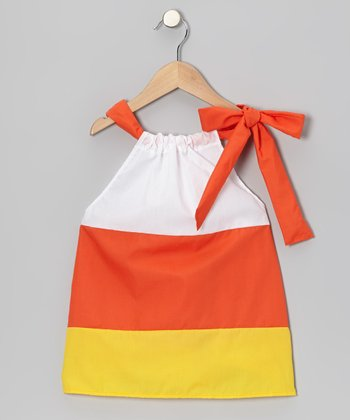 Orange & Yellow & White Candy Corn Swing Dress - Toddler & Girls