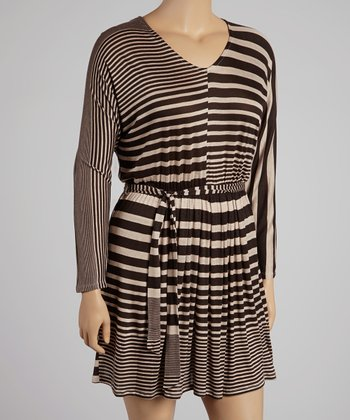 Chocolate Stripe Pleat V-Neck Dress - Plus
