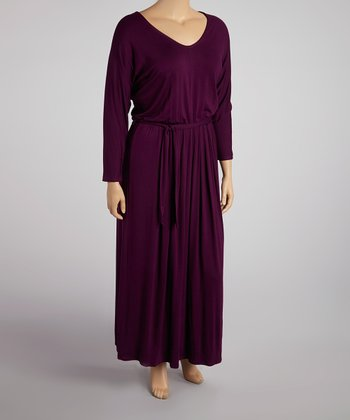Dark Eggplant V-Neck Maxi Dress - Plus