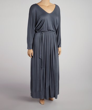 Dark Gray V-Neck Maxi Dress - Plus