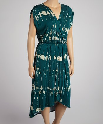 Teal Tie-Dye Surplice Hi-Low Dress - Plus