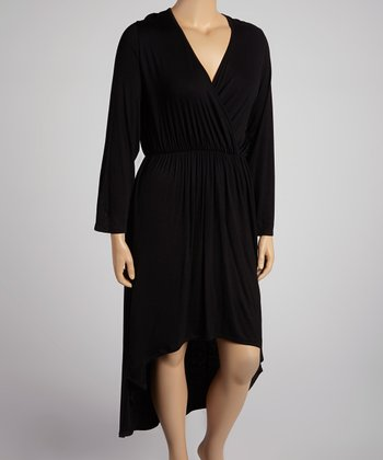 Black Long-Sleeve Hi-Low Dress - Plus