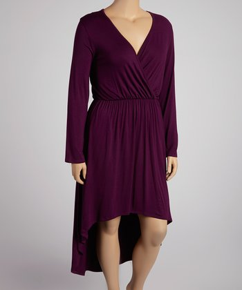 Dark Eggplant Long-Sleeve Hi-Low Dress - Plus