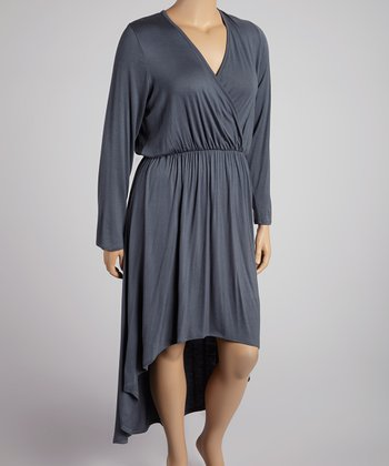 Dark Gray Long-Sleeve Hi-Low Dress - Plus