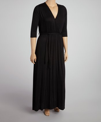 Black Three-Quarter Sleeve Surplice Maxi Dress - Plus
