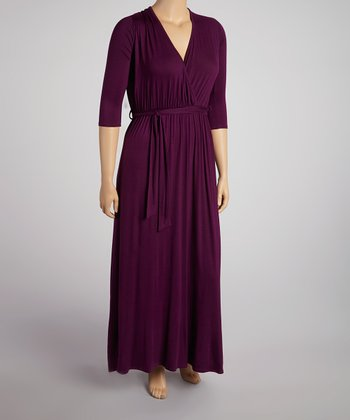 Dark Eggplant Three-Quarter Sleeve Surplice Maxi Dress - Plus