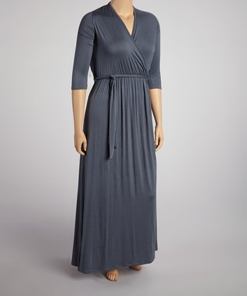 Dark Gray Three-Quarter Sleeve Surplice Maxi Dress - Plus