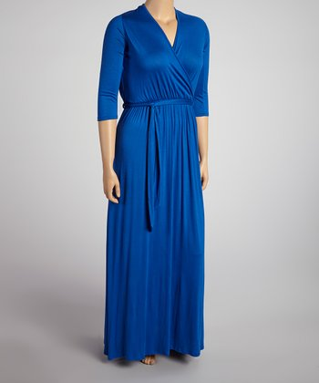 Royal Blue Three-Quarter Sleeve Surplice Maxi Dress - Plus