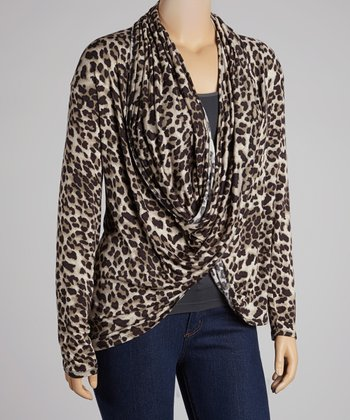Tan Leopard Drape Top - Plus