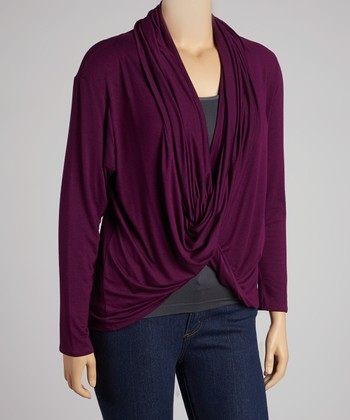 Dark Eggplant Cardigan - Plus