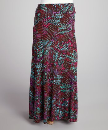 Purple & Teal Abstract Roll-Top Maxi Skirt - Plus