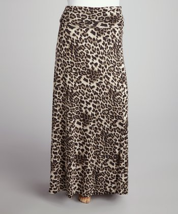 Tan Leopard Roll-Top Maxi Skirt - Plus