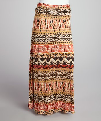 Brown & Orange Tribal Roll-Top Maxi Skirt - Plus