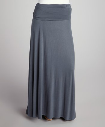 Dark Gray Roll-Top Maxi Skirt - Plus