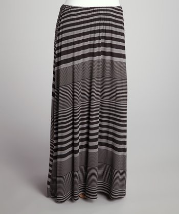Black & Charcoal Stripe Flare Maxi Skirt - Plus