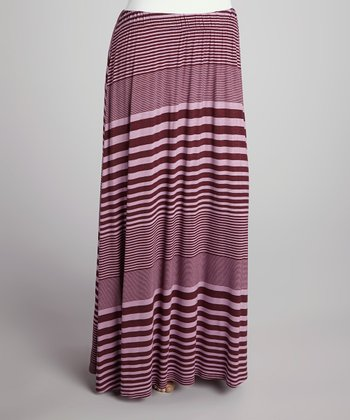 Dark Plum Stripe Flare Maxi Skirt - Plus