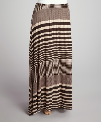 Chocolate Stripe Flare Maxi Skirt - Plus