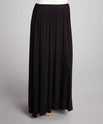 Black Flare Maxi Skirt - Plus