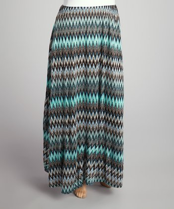 Teal & Brown Zigzag Seamless Maxi Skirt - Plus