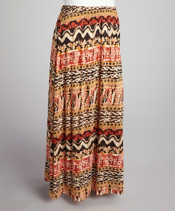 Brown & Orange Tribal Seamless Maxi Skirt - Plus