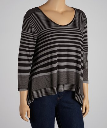 Black & Charcoal Stripe Three-Quarter Sleeve Hi-Low Top - Plus