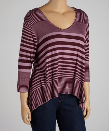 Dark Plum Stripe Three-Quarter Sleeve Hi-Low Top - Plus