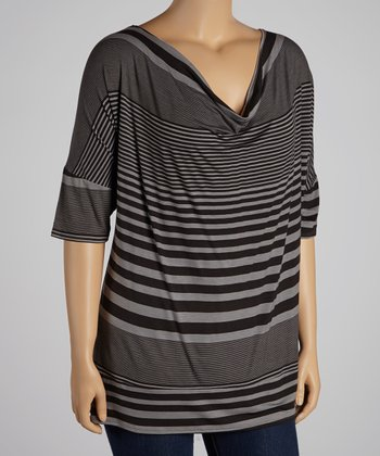 Black Charcoal Stripe Cowl Neck Top - Plus