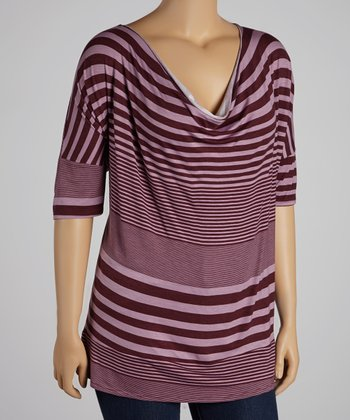 Dark Plum Stripe Cowl Neck Top - Plus